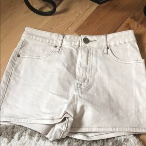 Cream color high rise jean shorts